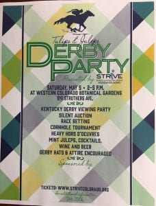 Flyer for Derby Party Tulips and Juleps for Strive