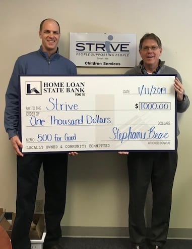 Check of Home Loan Bank Donation to STRiVE