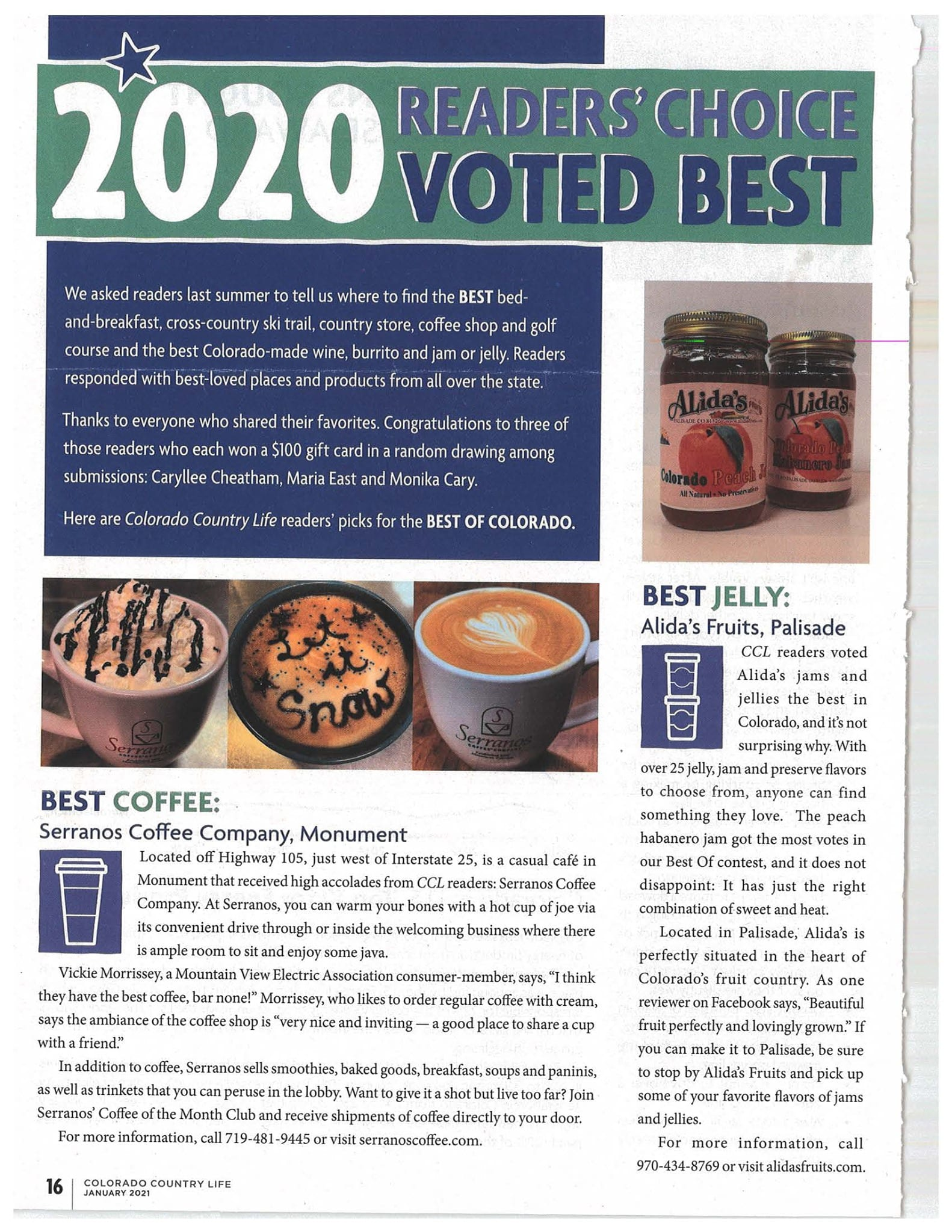 CCL readers voted Alida's jams and jellies the best in Colorado